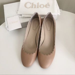 Chloe Scalloped Leather Pump nude color size 38